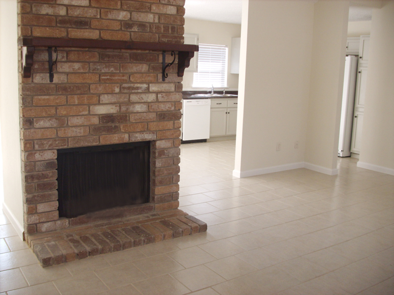 living room fire place into kitchen, 21403 Park Bishop Katy Texas real estate