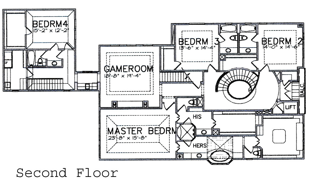 second floor plan  Houston Texas real estate